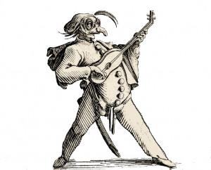 bulletin n° 12 ** décembre 2012 ** fondateur : Philippe Moisand Gobbi-2b-comédien-masqué-jouant-de-la-guitare-300x242